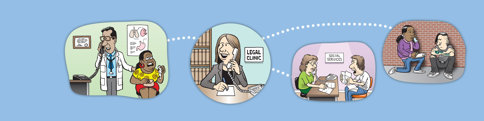 illustration of public services calling the legal health clinic